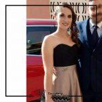 Foto clienta con corset negro y falda larga champagne para invitada a boda