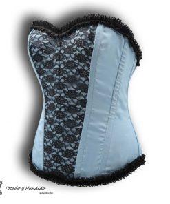 corset con encaje y puntilla superior e inferior lateral izquierdo