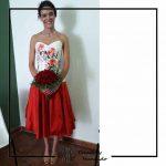 clienta corset flores falda roja boda corsets madrid
