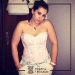 foto cliente corset rosa y blanco pantalon corsets madrid