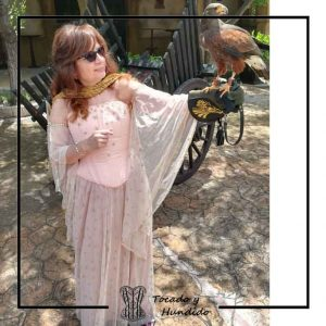 foto clienta corsets madrid corset epoca estrellas falda tul invitada a boda