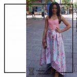 foto clienta corset rosa y falda flores invitada corsets madrid